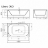 Akmens masės vonia VISPOOL LIBERO DUO 190 x 120 cm